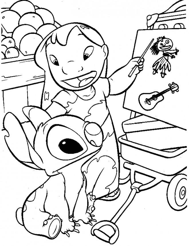Coloriage Lilo Et Stitch Dessinent En Ligne Dessin Gratuit A Imprimer
