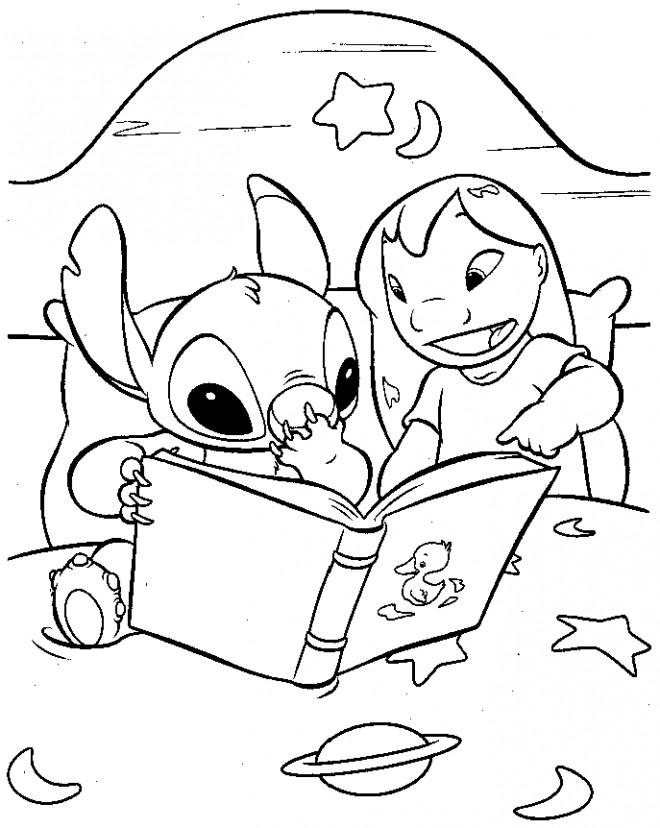 Coloriage lilo et stitch lisent un livre dessin gratuit imprimer - Dessin de stitch ...