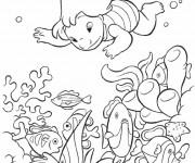 Coloriage Lilo plonge dans la mer