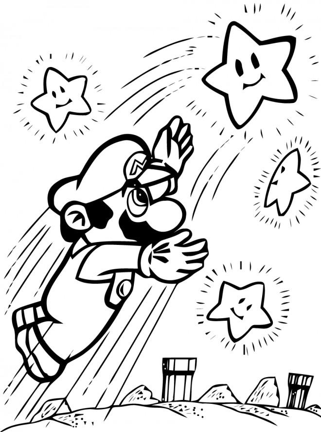 Coloriage Mario Attrape Les étoiles Dessin Gratuit à Imprimer