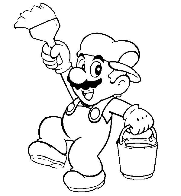 Coloriage et dessins gratuits Mario Bros et le pinceau à imprimer