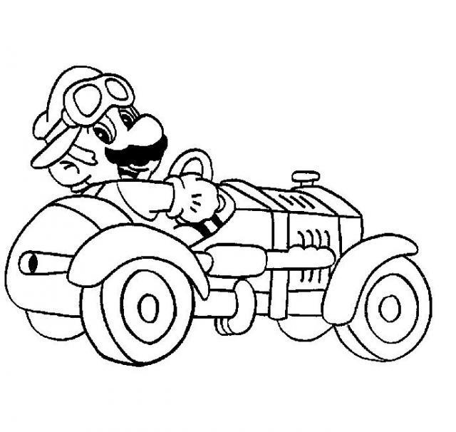 Coloriage mario bros et sa voiture de course dessin gratuit imprimer - Coloriage mario bros a imprimer ...