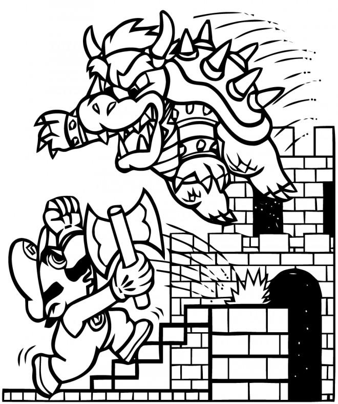 Coloriage Mario Et Browser Dessin Gratuit à Imprimer