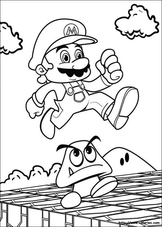 Coloriage mario et champignon facile dessin gratuit imprimer - Coloriage mario bros a imprimer ...