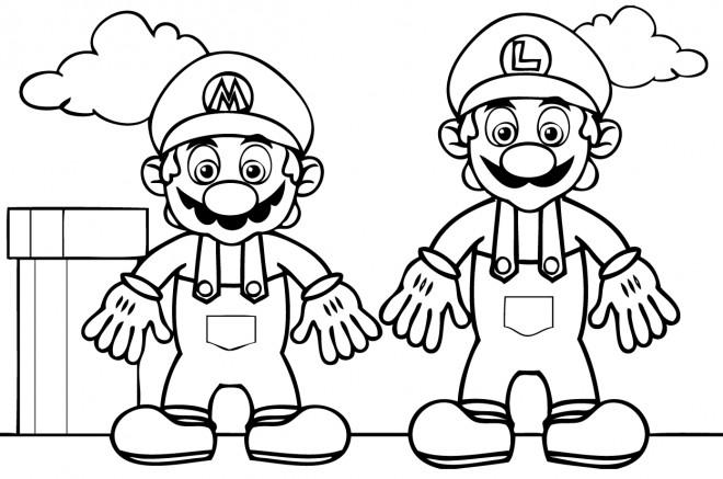 Coloriage Mario Et Luigi Nintendo Dessin Gratuit à Imprimer
