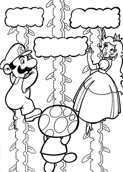 Coloriage Mario et Peach dessin