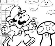 Coloriage Personnage Mario champignon