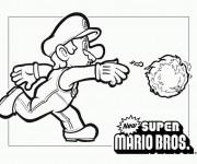 Coloriage Super Mario jette la boule de feu