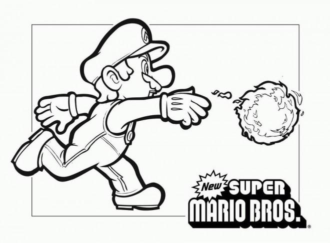 Coloriage et dessins gratuits Super Mario jette la boule de feu à imprimer