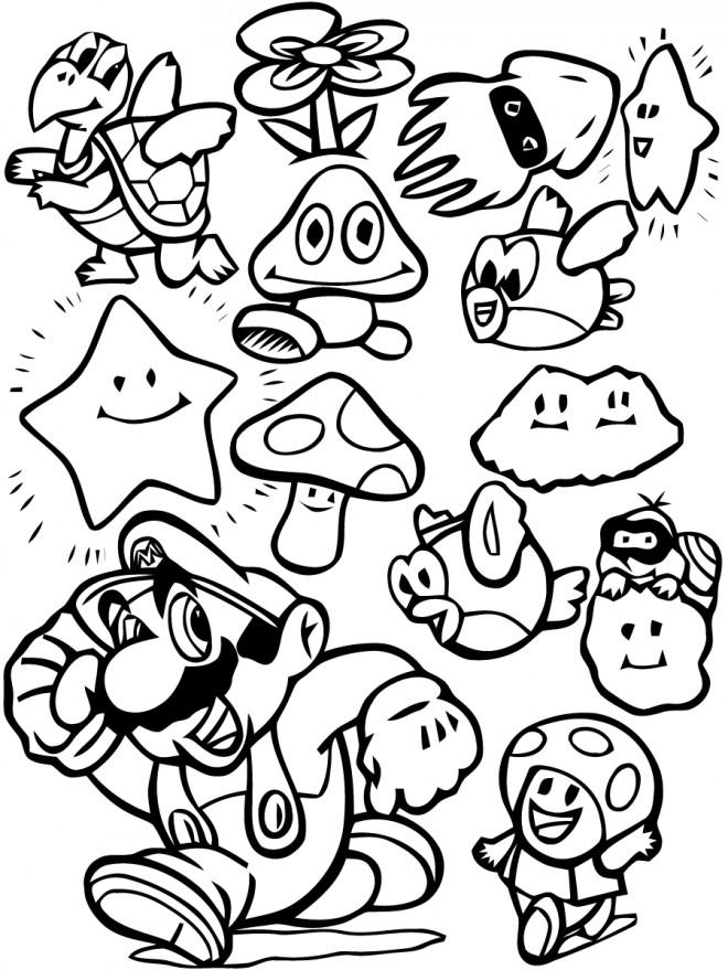 Coloriage et dessins gratuits Super Mario personnages à imprimer