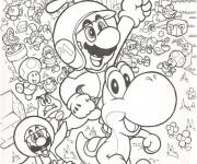 Coloriage Tous les personnages de Mario