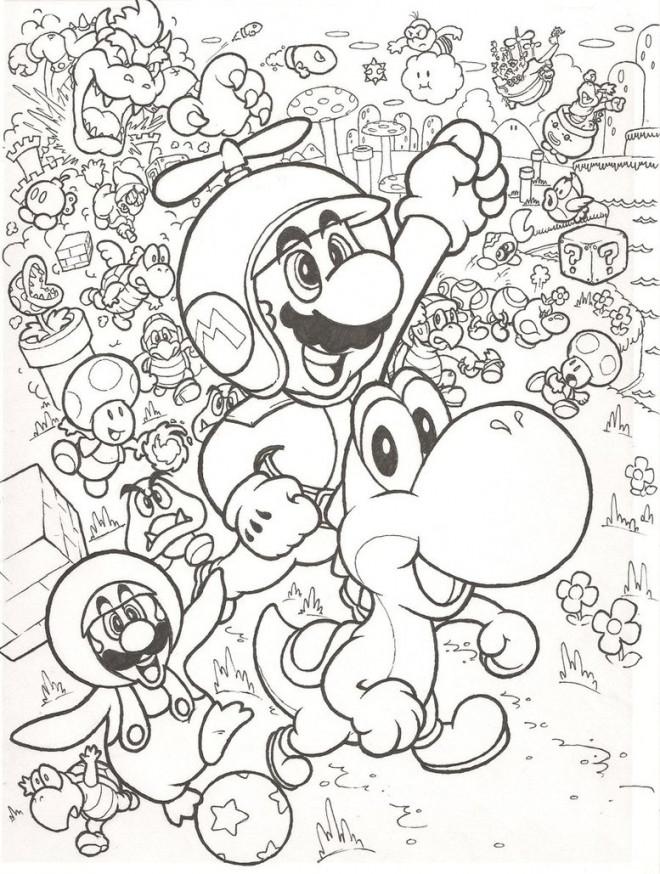 Coloriage Tous Les Personnages De Mario Dessin Gratuit à