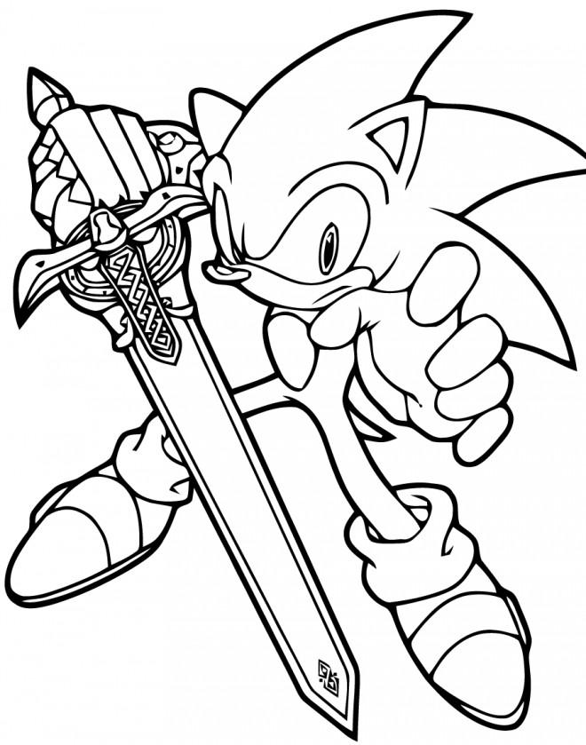 Coloriage Sonic Tient Une épée Dessin Gratuit à Imprimer