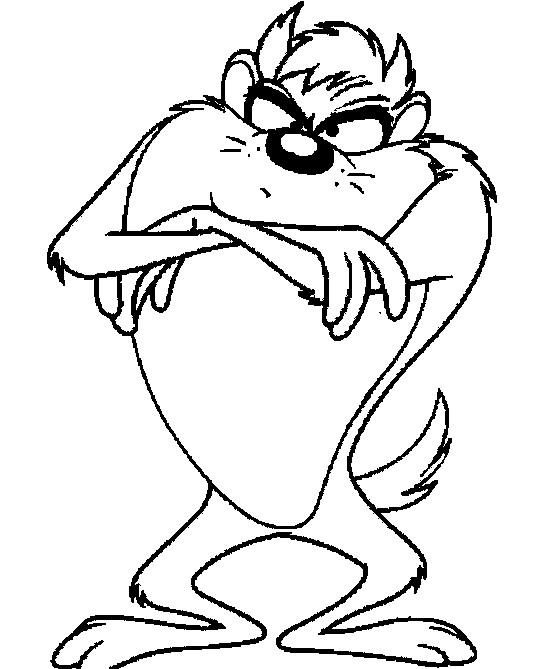 Coloriage et dessins gratuits Animal Taz déçu à imprimer