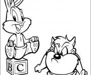 Coloriage et dessins gratuit Bébé Looney Tunes Bunny et Taz à imprimer