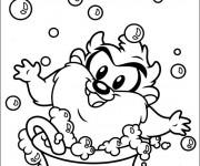 Coloriage et dessins gratuit Bébé Taz en bain à imprimer