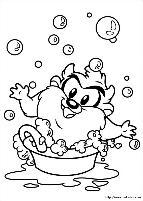 Coloriage et dessins gratuits Bébé Taz en bain à imprimer