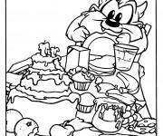 Coloriage Bébé Taz et son anniversaire