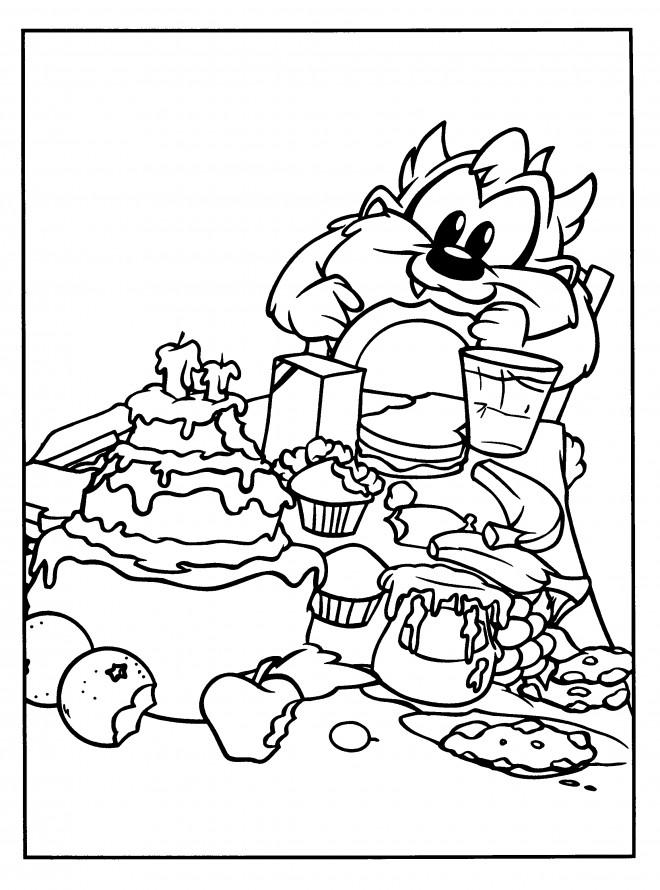 Coloriage et dessins gratuits Bébé Taz et son anniversaire à imprimer