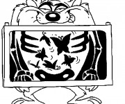 Coloriage et dessins gratuit Des papillons dans le ventre de Taz à imprimer