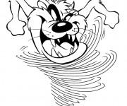 Coloriage et dessins gratuit Taz court très rapidement drôle à imprimer