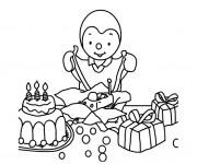 Coloriage Dessin l'anniversaire de Tchoupi