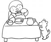Coloriage Tchoupi et Doudou mangent