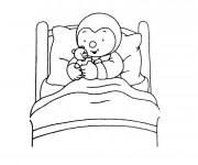 Coloriage Tchoupi et Doudou sur son lit
