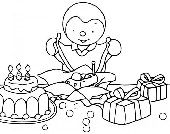 Coloriage Tchoupi ouvre ses cadeaux pour enfant dessin ...
