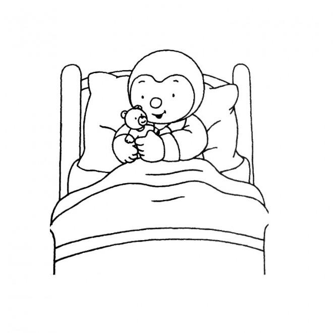 Coloriage tchoupi et doudou sur son lit dessin gratuit imprimer - Telecharger tchoupi et doudou gratuit ...