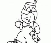 Coloriage Tchoupi porte un chapeau dessin