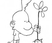 Coloriage Titeuf et la fleure