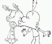 Coloriage et dessins gratuit Titeuf et Nadia amour à imprimer