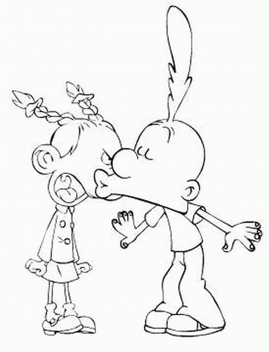 Coloriage et dessins gratuits Titeuf et Nadia amour à imprimer