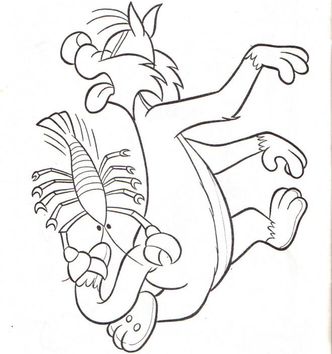 Coloriage et dessins gratuits Grosminet est piqué par la pince de l'écrevisse à imprimer