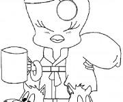 Coloriage et dessins gratuit Titi  boit son café à imprimer