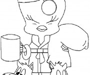 Coloriage Titi  boit son café