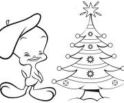 Coloriage Titi et Grosminet Noël