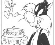 Coloriage Titi et Grosminet s'aprêtent à manger du gâteau