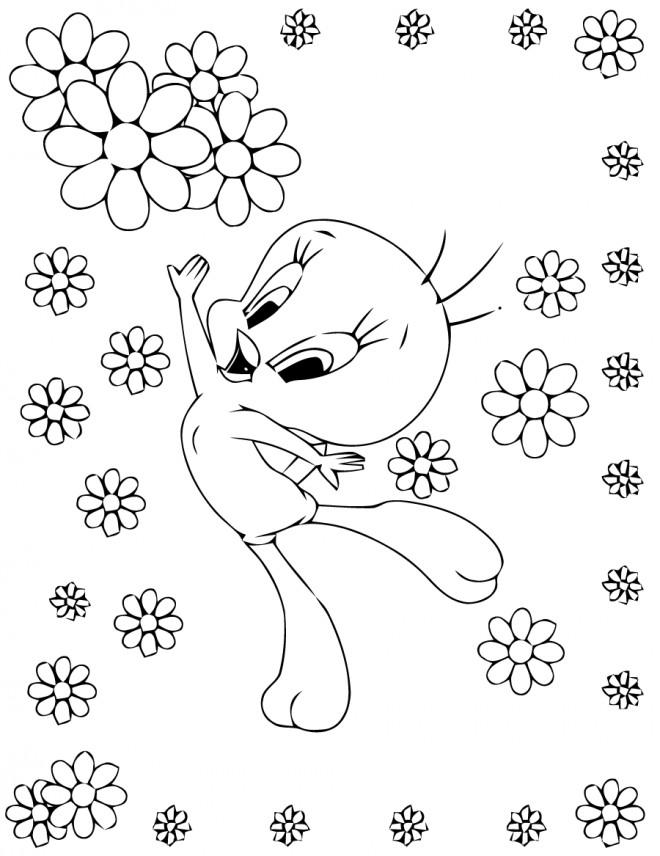 Coloriage et dessins gratuits Titi saute de joie à imprimer