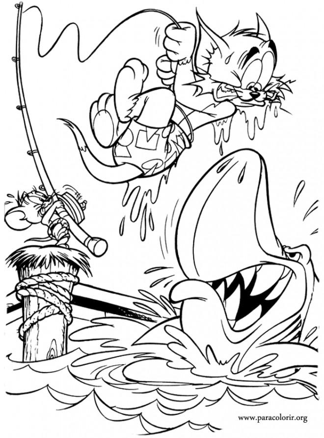 Coloriage tom et jerry en danger dessin gratuit imprimer - Tom et jerry dessin ...