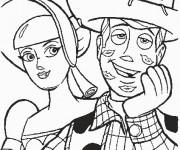 Coloriage Bergère et Woody amoureux personnages