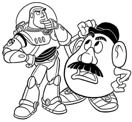 Coloriage et dessins gratuits Buzz l'Eclair et Monsieur Patate en couleur à imprimer