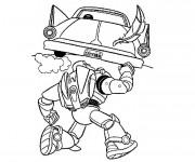 Coloriage Buzz l'Eclair lève une voiture