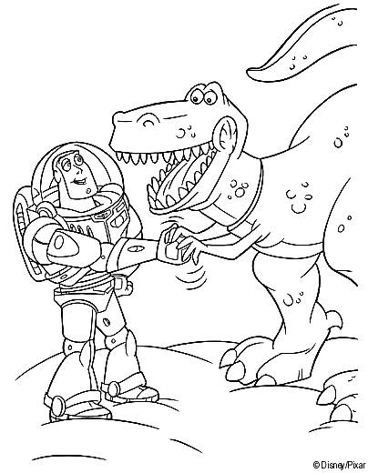 Coloriage et dessins gratuits Buzz l'Éclair serre la main avec Rex Toy Story Image à imprimer