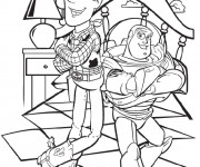 Coloriage Image Toy Story Woody et Buzz l'Eclair