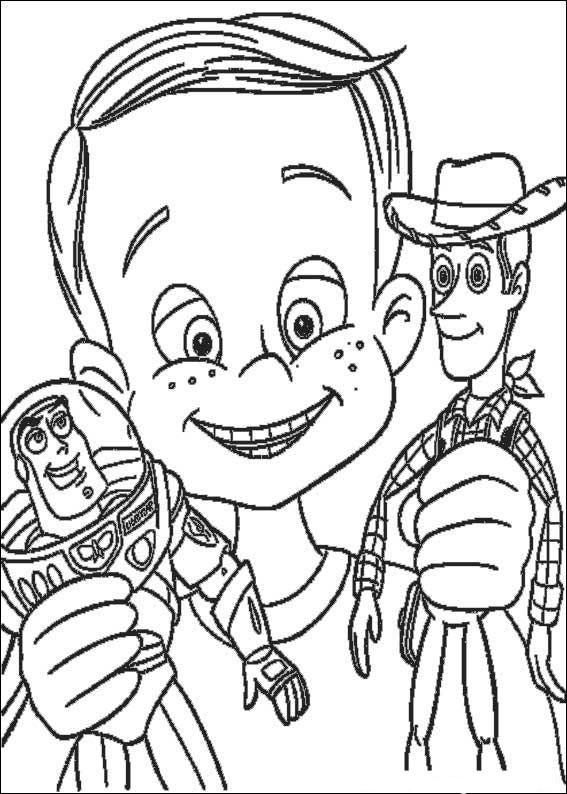 Coloriage et dessins gratuits Les toys Buzz l'Eclair et Woody dans les mains d'un enfant en lig à imprimer