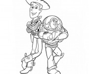 Coloriage Toy Story Woody et Buzz