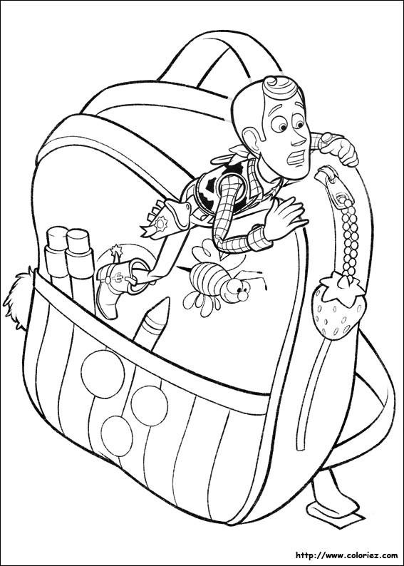 Coloriage et dessins gratuits Toy Woody sur sac à main à imprimer