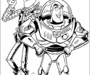 Coloriage Woody et Buzz l'Eclair Toy Story